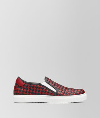 SLIP-ON BV CHECKER IN VITELLO NERO/CHINA RED