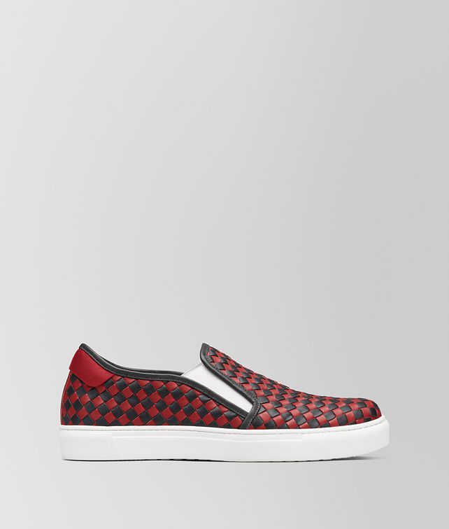 BOTTEGA VENETA NERO/CHINA RED CALF BV CHECKER SLIP-ON Trainers Man fp