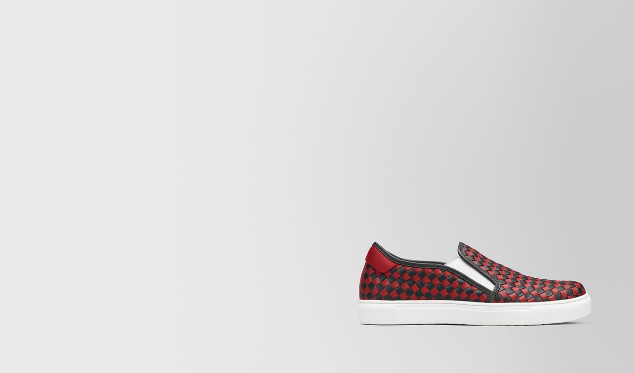 nero/china red calf bv checker slip-on landing