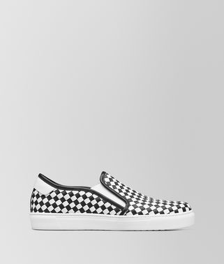 SLIP-ON BV CHECKER IN VITELLO NERO/BIANCO