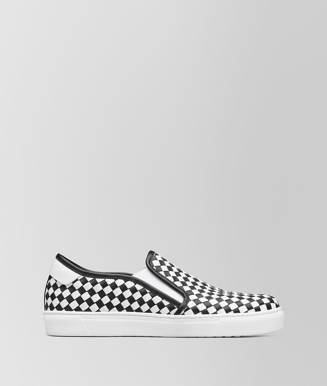 BOTTEGA VENETA NERO/BIANCO CALF BV CHECKER SLIP-ON Trainers [*** pickupInStoreShippingNotGuaranteed_info ***] fp