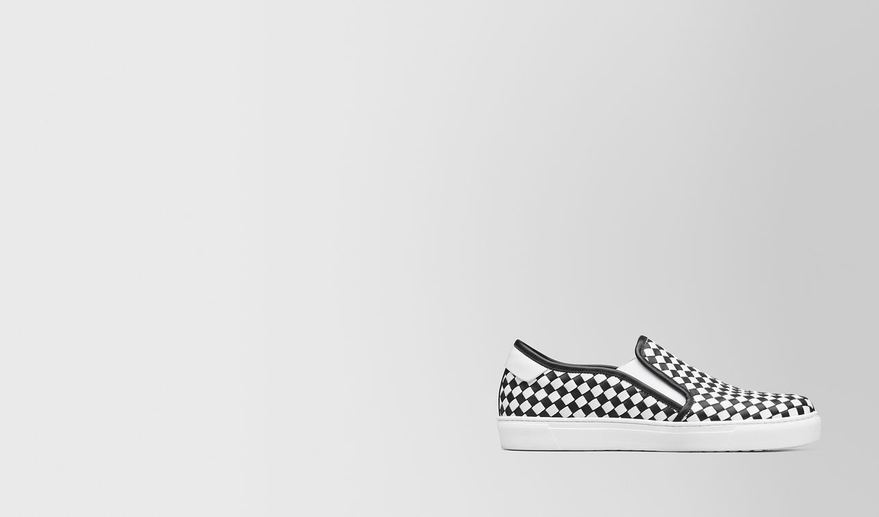slip-on bv checker in vitello nero/bianco landing