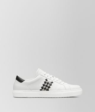 SNEAKER BV CHECKER IN VITELLO BIANCO/CEMENT