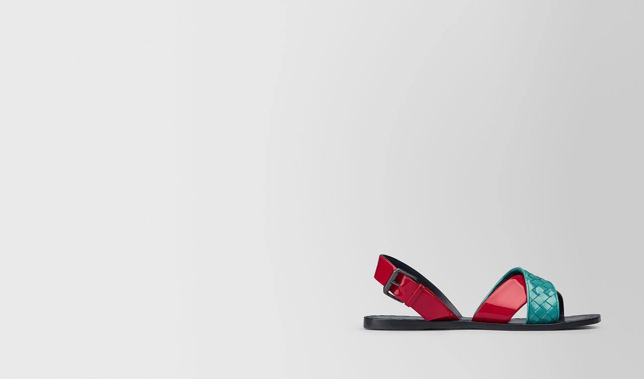 aqua/china red patent calf ravello sandal landing