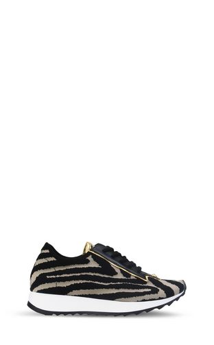 Zebra-print running shoe
