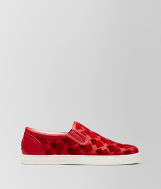 SNEAKER DODGER IN NAPPA E VELLUTO CHINA RED