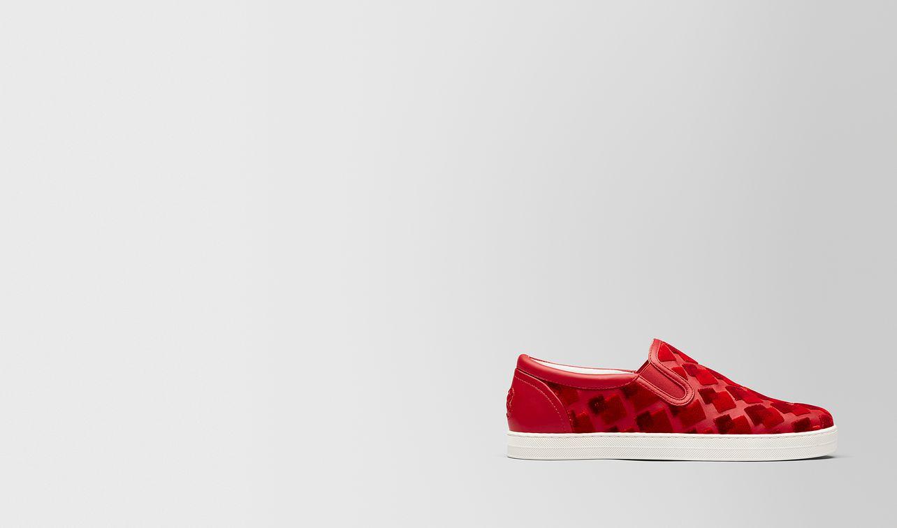 china red nappa/velvet dodger sneaker landing