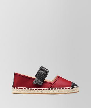 ESPADRILLES EN CUIR NAPPA CHINA RED/NERO