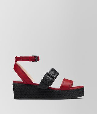 CHINA RED/NERO NAPPA ESPADRILLE WEDGE