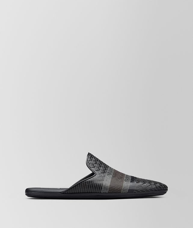 BOTTEGA VENETA NERO INTRECCIATO NAPPA STITCHING FIANDRA SLIPPER Mocassin or Slipper Man fp
