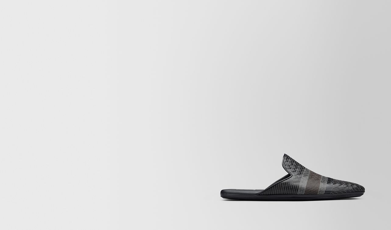 nero intrecciato nappa stitching fiandra slipper landing