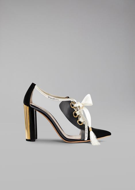 Прозрачные туфли со шнурками из грогрена
