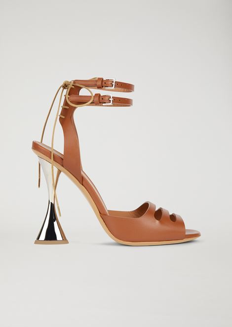 Leather sandals with hourglass heel