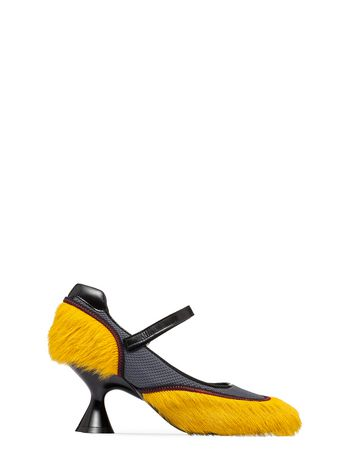 Marni Calf hair and leather mesh Mary-Jane Woman