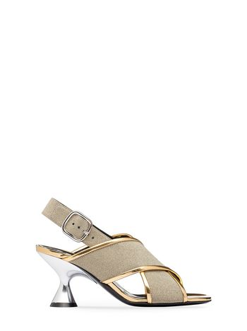 Marni Sandal in glitter leather with hourglass heel Woman