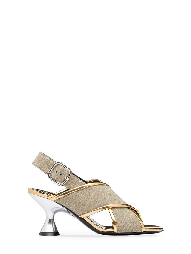 850976db6b9 Marni Sandal in glitter leather with hourglass heel Woman - 1 ...