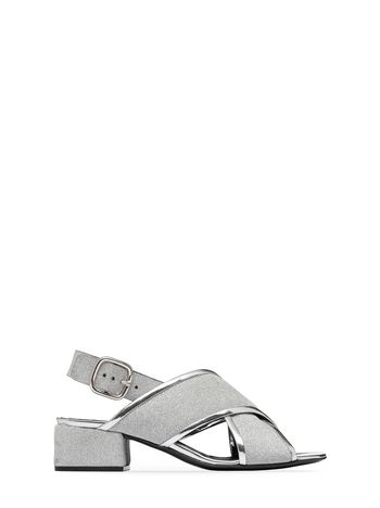 Marni Glittery calfskin sandal with square heel Woman