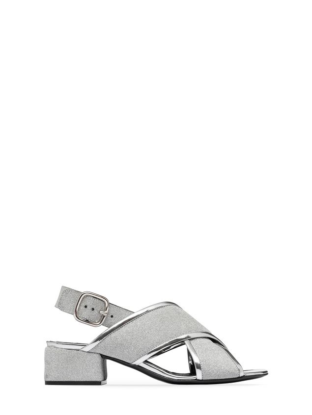 37e55255c9f Marni Sandal in glitter leather with squared heel Woman - 1 ...