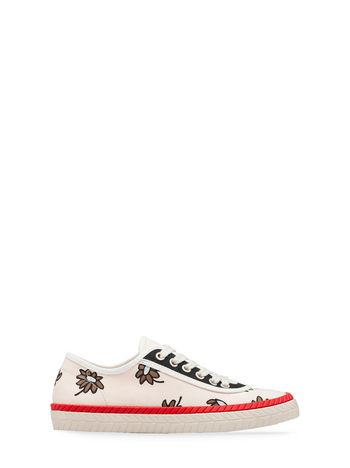 Marni Beige canvas sneaker with Frank Navin Petals print Woman
