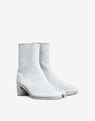 SHOES Painted Tabi ankle boots White
