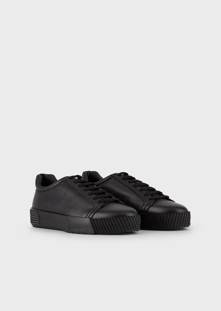 GIORGIO ARMANI Sneakers in deerskin with embellished sole Sneakers Man r