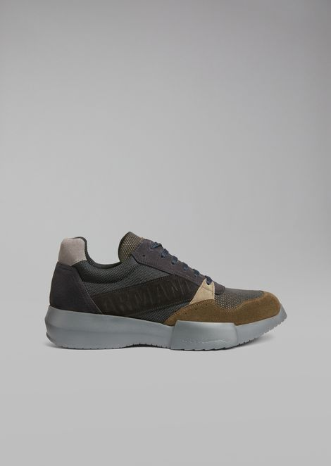 Suede sneakers with mesh inserts and oversized sole