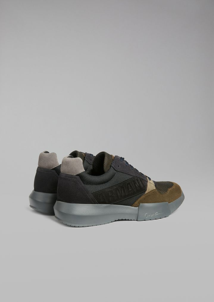 GIORGIO ARMANI Suede sneakers with mesh inserts and oversized sole Sneakers Man d