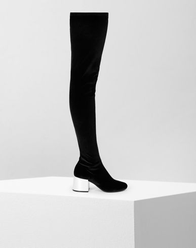 MM6 MAISON MARGIELA Boots [*** pickupInStoreShipping_info ***] Velvet thigh-high boots f