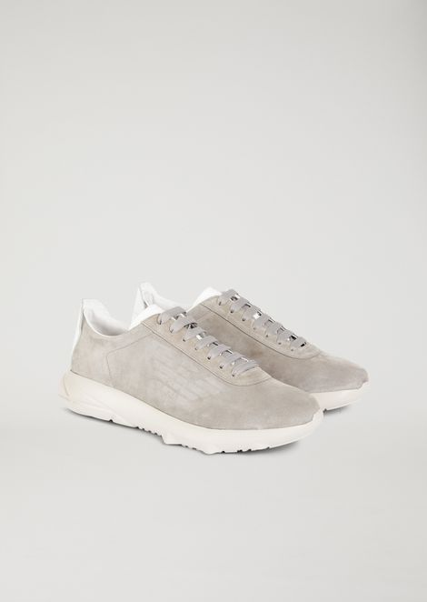 Suede sneakers with grooved rubber sole