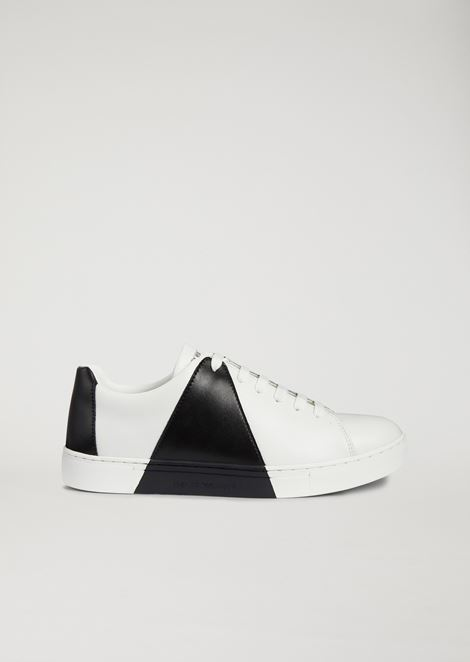 Leather sneakers with printed optical detail
