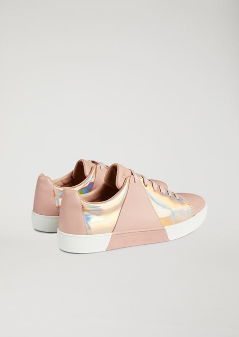 Leather sneakers with printed iridescent detail