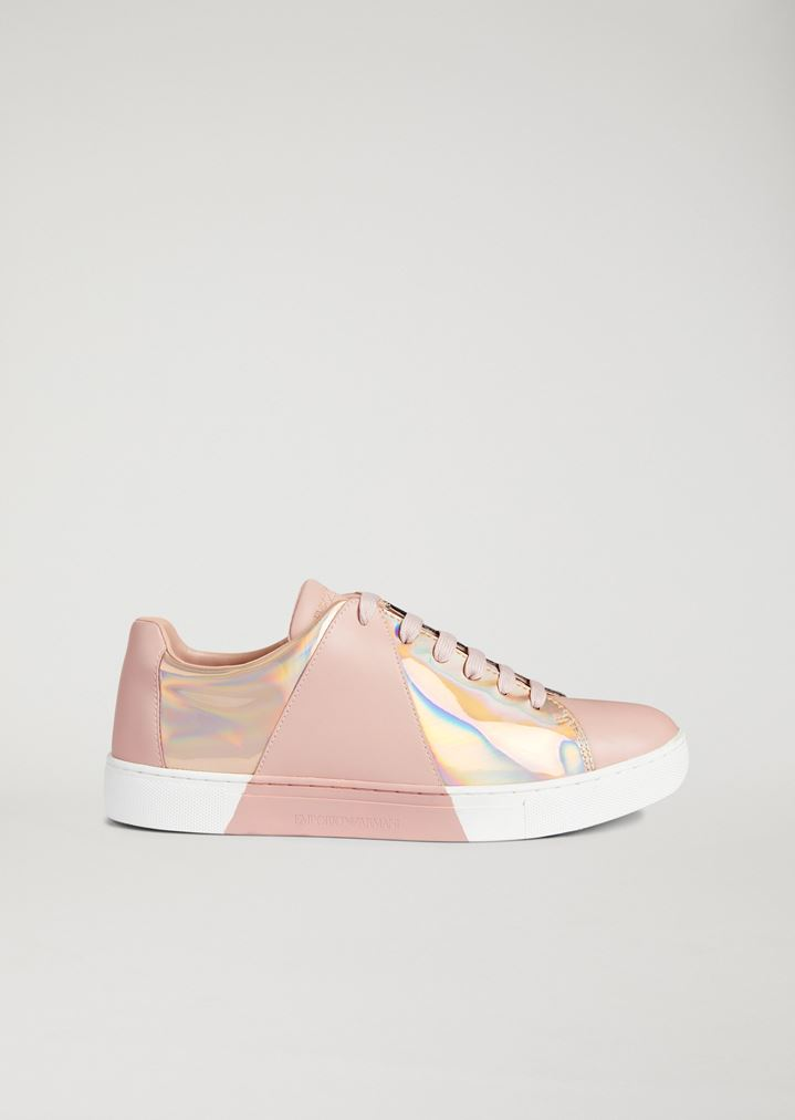 f4aa686dc2b9 Leather sneakers with printed iridescent detail