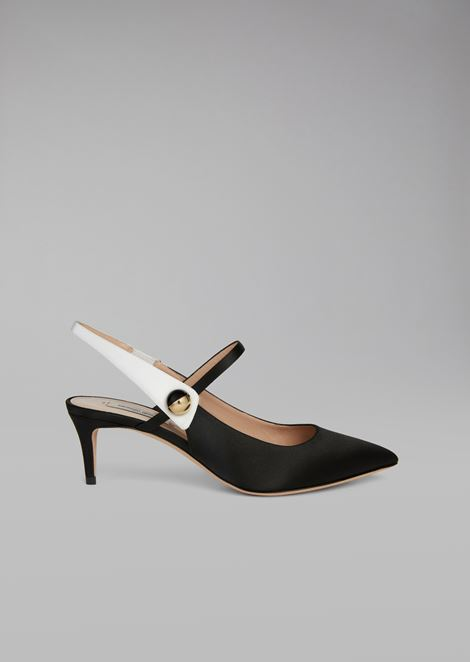 Silk satin pump with tuxedo detail