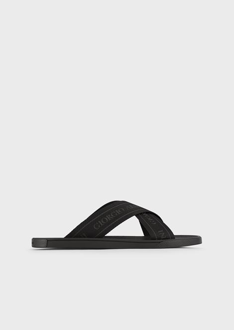 Logo strap flip-flop with leather details
