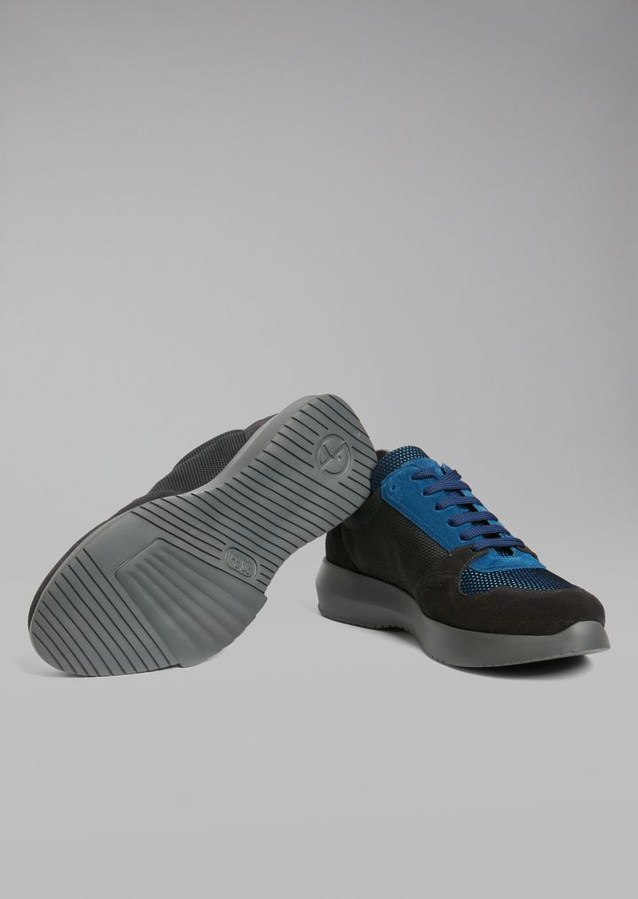 GIORGIO ARMANI Suede sneakers with mesh inserts and oversized sole Sneakers Man a