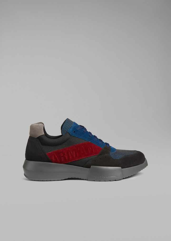 GIORGIO ARMANI Suede sneakers with mesh inserts and oversized sole Sneakers Man f