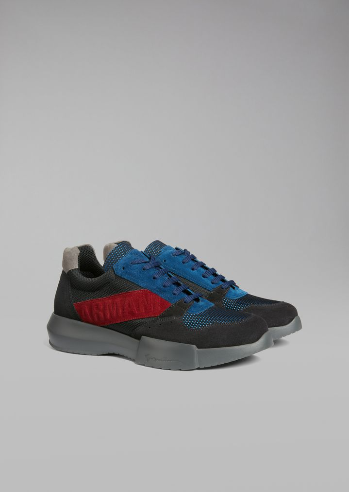 GIORGIO ARMANI Suede sneakers with mesh inserts and oversized sole Sneakers Man r