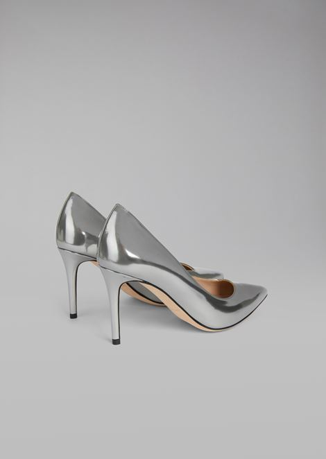 Metallic wet-look leather stiletto heel pump