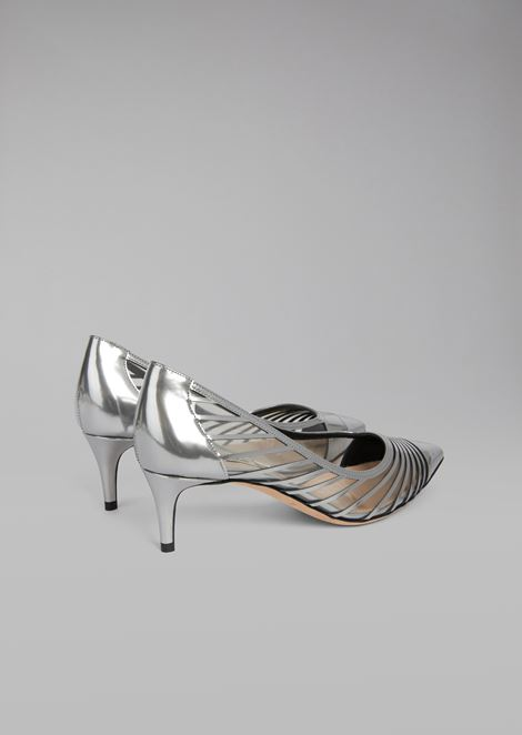 Metallic wet-look leather pump with vinyl inserts