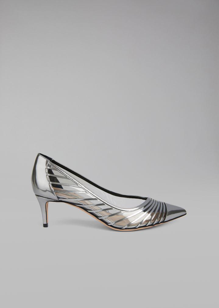 4156c4ef4d3 Zapatos de salón de piel metalizada líquida con inserciones de charol |  Mujer | Giorgio Armani
