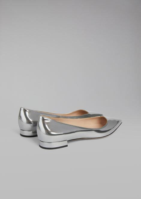 Metallic wet-look leather pointed-toe ballet flats