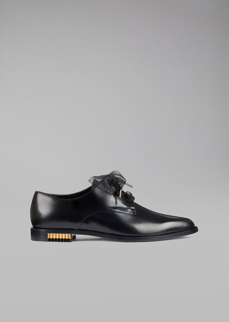 Shezan leather brogues with pleated metal heel