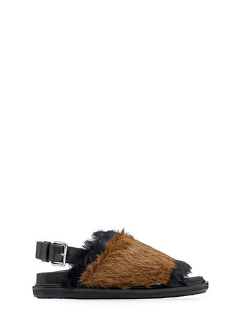 Marni Two-color strap Fussbett with fur Woman
