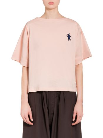 Marni Pink cotton jersey T-shirt with rabbit Woman