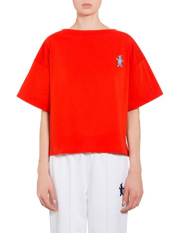 Marni Red cotton jersey T-shirt with rabbit  Woman
