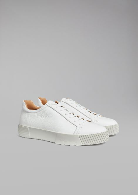 Deerskin sneakers with logo heel detail