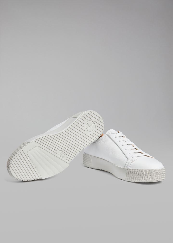 GIORGIO ARMANI Deerskin sneakers with logo heel detail Sneakers Man a