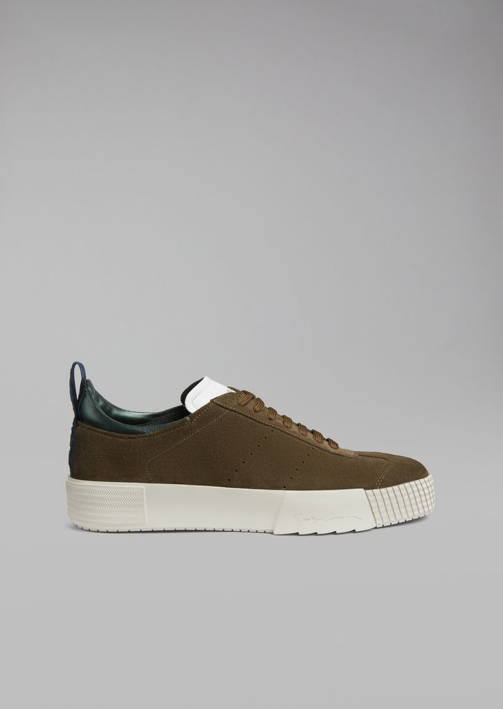 GIORGIO ARMANI Suede leather sneakers with logo heel detail Sneakers Man f