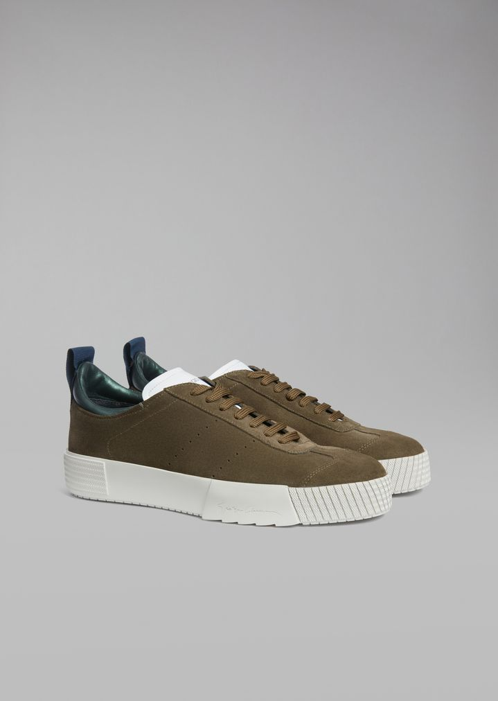GIORGIO ARMANI Suede leather sneakers with logo heel detail Sneakers Man r