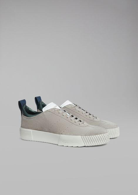 Suede leather sneakers with logo heel detail